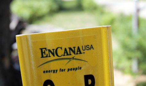 A yellow Encana natural gas pipeline marker is seen along a road on state forest park land in Kalkaska, Michigan June 20, 2012. REUTERS/Rebe