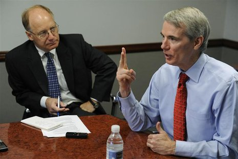 Senator Rob Portman (R-OH) gestures as he responds to a question during the Reuters Washington Summit in Washington, June 26, 2012. REUTERS/