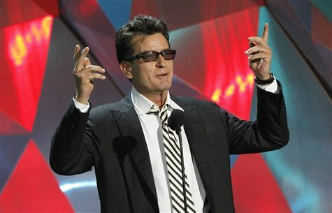 "Actor Charlie Sheen introduces the instant cult classic film ""Project X"" at the 2012 MTV Movie Awards in Los Angeles, June 3, 2012. REUTERS/"