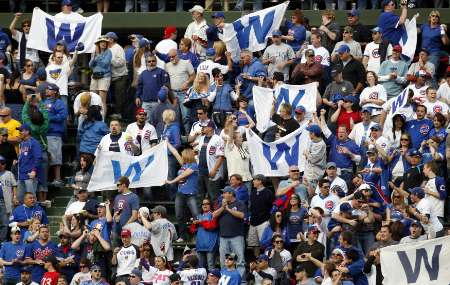 Cubs fans celebrate at Wrigley Field April 12, 2010