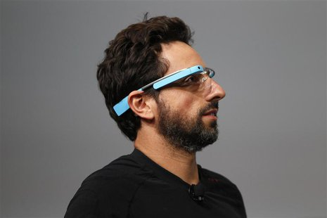 Sergey Brin, CEO and co-founder of Google, wears a Google Glass during a product demonstration during Google I/O 2012 at Moscone Center in S
