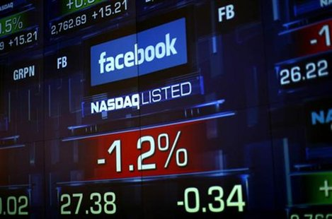 Monitors show the value of the Facebook, Inc. stock during morning trading at the NASDAQ Marketsite in New York June 4, 2012. REUTERS/Eric T