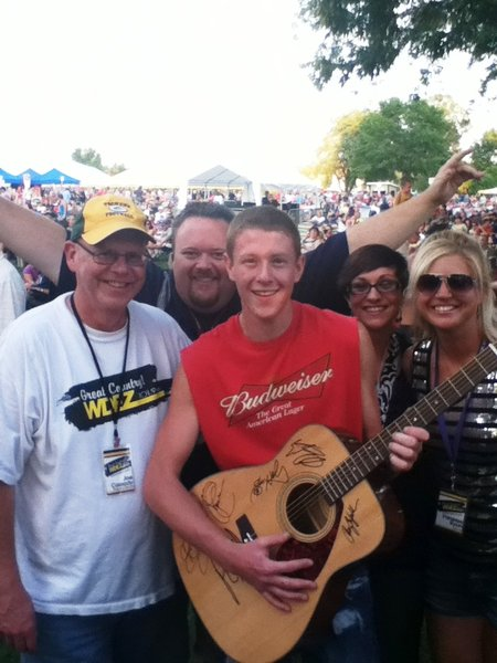 Our winner of the signed guitar from Country Fest 2012 with Joe Cassady, Bryan Scott, Vanessa Ryan and Nikki Montgomery