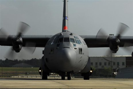 MAFFS 7, a C-130 Hercules cargo plane assigned to the 145th Airlift Wing, N.C. Air National Guard, is pictured departing in Charlotte, North