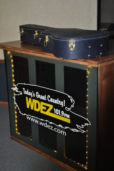 WDEZ Broadcast stand built by Nikki Montogmery and her husband.