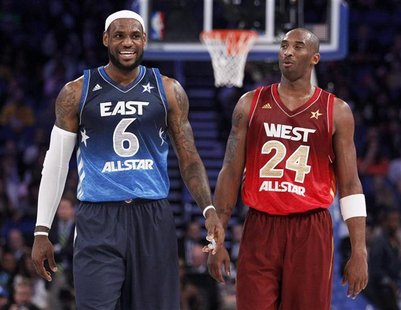 East All-Star LeBron James of the Miami Heat (L) and West All-Star Kobe Bryant of the Los Angeles Lakers exchange words in the fourth quarte