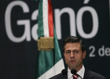 Mexico's President-elect Enrique Pena Nieto delivers a speech to the media at a hotel in Mexico City July 2, 2012. REUTERS/Henry Romero
