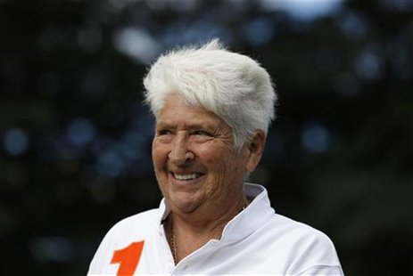 Former Australian swimmer Dawn Fraser smiles during a Reuters interview in Sydney April 7, 2011. REUTERS/Daniel Munoz