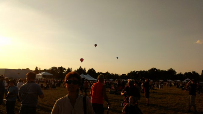 Balloons heading out over downtown Wausau