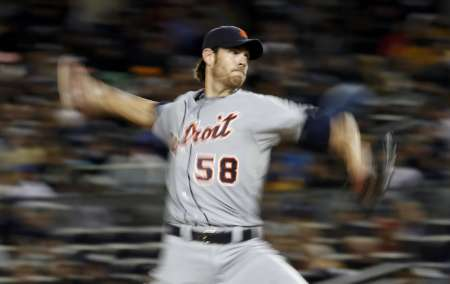 Detroit Tigers pitcher Doug Fister, who threw seven strong innings in a 7-2 win over Baltimore on Friday, July 13, 2012 (REUTERS)