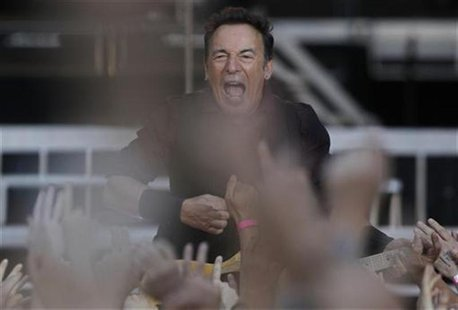 "U.S. singer Bruce Springsteen performs with the E. Street Band during their European tour to promote their latest album ""Wrecking Ball"" in F"