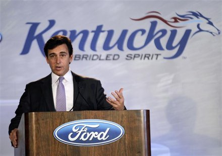 Ford Motor Company's Mark Fields, Ford's presidents of the Americas, addresses plant employees, guest and members of the media during a news