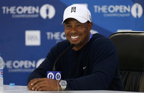Tiger Woods of the U.S. speaks during a news conference after a practice round ahead of the British Open golf championship at Royal Lytham a