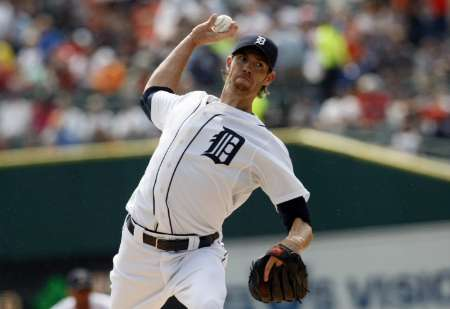 Detroit Tigers starting pitcher Doug Fister, who gave up just one run, two hits, and struck out 10 in 8 innings, as the Tigers defeated the LA Angels 7-1 on Wednesday, July 17, 2012.
