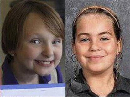 Elizabeth Collins, 8, and Lyric Cook, 10, (R) are pictured in this handout photo from Black Hawk County Sheriff, received by Reuters July 16