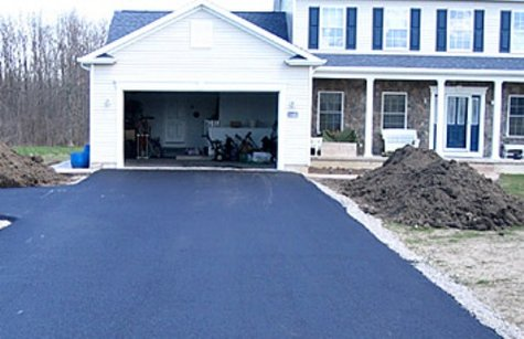 Driveway of a newly constructed home.