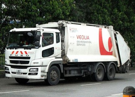 A Veolia garbage truck