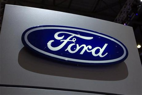 A Ford logo is seen on the car maker's booth during the first media day of the Geneva Auto Show at the Palexpo in Geneva, March 6, 2012. The