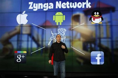 Zynga General Manager Manuel Bronstein speaks during the Zynga Unleashed event at the company's headquarters in San Francisco, California Ju