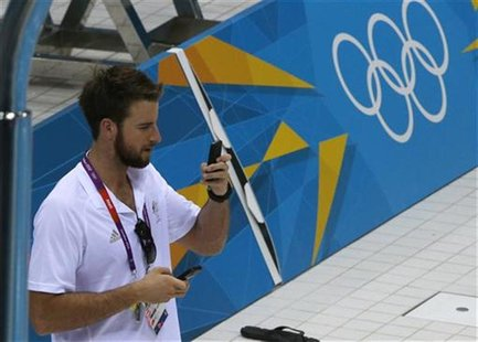 Australian swimmer James Magnussen, the100-metre freestyle world champion, is seen at the Aquatics Centre before the start of the London 201