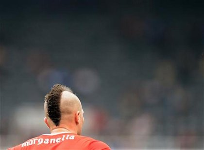 Switzerland's Michel Morganella is seen during their men's Group B soccer match against Gabon at the London 2012 Olympic Games at St James'