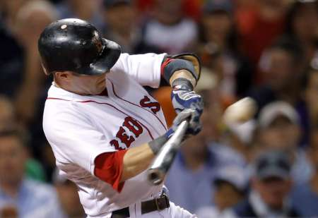 Boston Red Sox 2B Dustin Pedroia, who hit a 2-run home run, and had 3 RBIs, as the Sox defeated the Detroit Tigers 7-3 on Monday, July 30, 2012.
