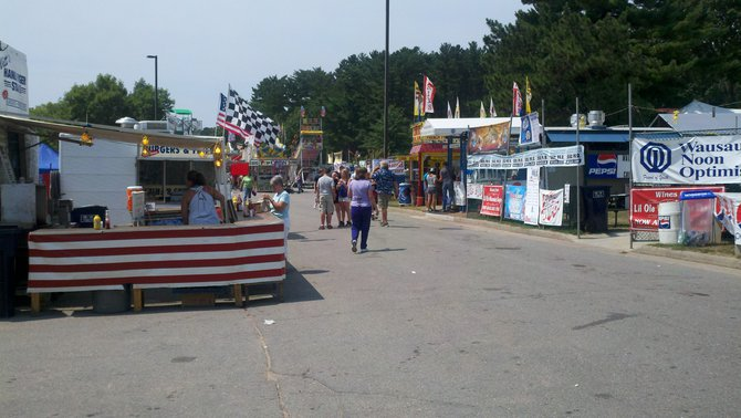 The midway of the Wisconsin Valley Fair before opening day.