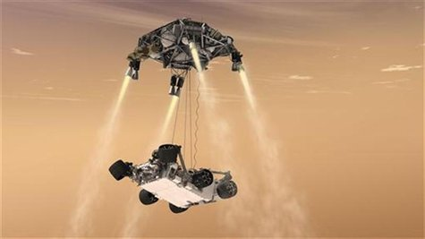 This artist's concept shows the sky crane maneuver during the descent of NASA's Curiosity rover to the Martian surface.The entry, descent, a