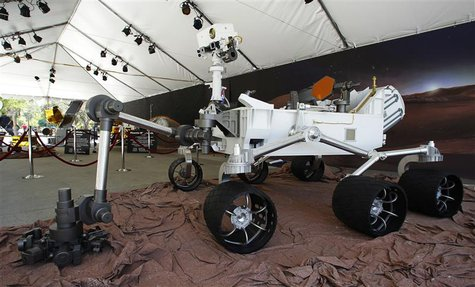 A full scale model of the Mars Science Laboratory's (MSL) Curiosity rover is pictured at NASA's Jet Propulsion Lab in Pasadena, Calfiornia A