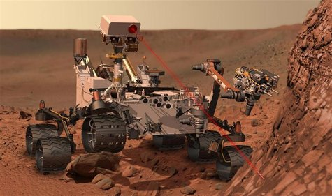 This artist's concept depicts the rover Curiosity, of NASA's Mars Science Laboratory mission, as it uses its Chemistry and Camera (ChemCam)