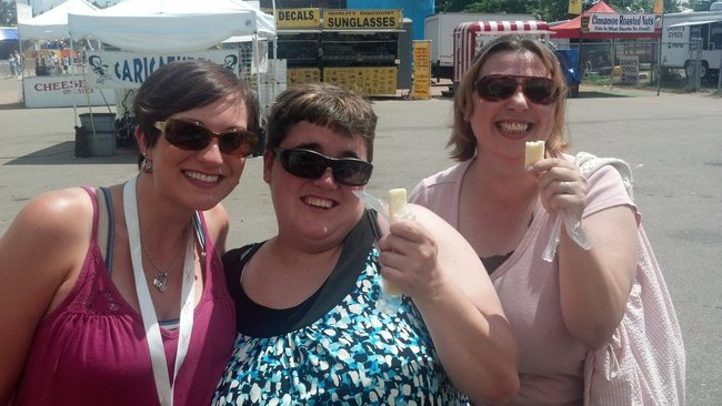 Nikki and Mandy and friend sampling Omega fortified cheese from Omega Valley Farmers
