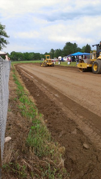 Prepping the Tractor Pull Track after the rain