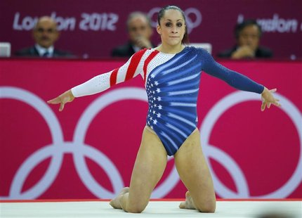 Jordyn Wieber of the U.S. competes in the women's gymnastics floor exercise final in the North Greenwich Arena during the London 2012 Olympi