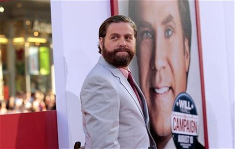 "Cast member Zach Galifianakis poses at the premiere of ""The Campaign"" at the Grauman's Chinese theatre in Hollywood, California August 2, 20"