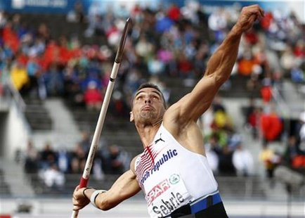 Roman Sebrle of Czech Republic competes during the javelin throw heats of the men's decathlon at the European Athletics Championships in Hel