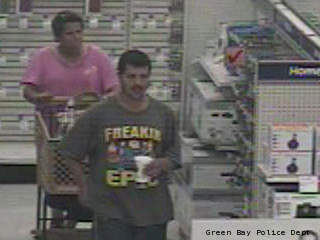 Green Bay police are searching for two people who allegedly shoplifted cartloads of electronics from local stores.