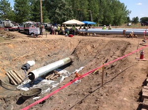 Exposed pipeline in Wisconsin during the repair process last week