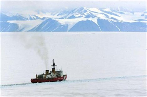 A United States Coast Guard icebreaker works in McMurdo Sound keeping a channel free for supply ships reaching the Antarctica's McMurdo Stat
