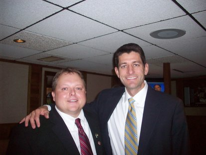 Congressman Paul Ryan (R-Janesville) poses with State Assemblyman Scott Krug (R-Wisconsin Rapids) during a fundraiser, August 9 2012