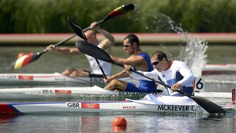 Britain's Ed Mckeever competes in the men's kayak single (K1) 200m semifinal at the Eton Dorney during the London 2012 Olympic Games August