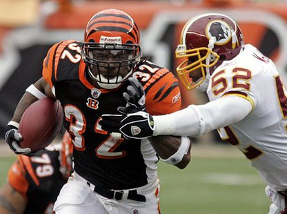 Veteran free-agent running back Cedric Benson with the Cincinnati Bengals.