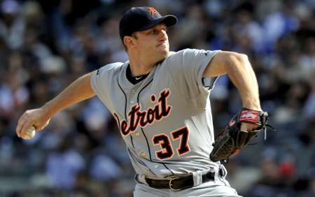 Detroit Tigers pitcher Max Scherzer, who threw 6 strong innings in a 6-2 win over Texas on Friday, August 10, 2012.