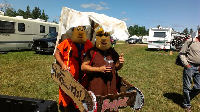 Fred and Barney in the spirit for the Flintstones at the Fuddrock play at Fuddfest Saturday Afternoon