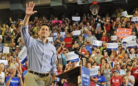 Republican vice presidential candidate Representative Paul Ryan (R-WI) gestures as he speaks at a campaign stop at Lakewood High School in L