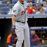 Detroit Tigers slugger Miguel Cabrera, who earned his 99th and 100th RBIs of the season in a 8-4 Detroit win over Minnesota on Tuesday, August 14, 2012.