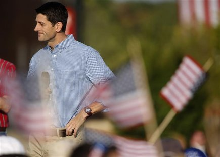 Republican vice presidential candidate Representative Paul Ryan (R-WI) looks on during a campaign rally at Miami University in Oxford, Ohio
