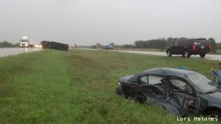 Scene of a crash on Interstate 43 in Sheboygan County, Aug. 16, 2012. (courtesy of FOX 11).