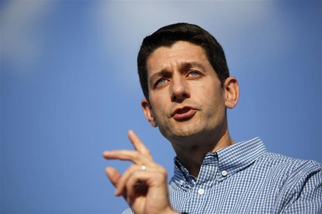 Republican vice presidential candidate Representative Paul Ryan (R-WI) speaks during a campaign rally at Miami University in Oxford, Ohio Au