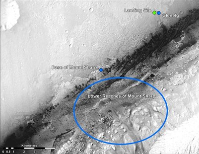 Undated NASA handout image shows the Mars landing site of the Curiosity rover and destinations scientists want to investigate. Curiosity lan