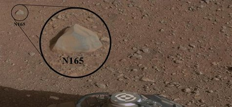 This mosaic image with a close-up inset, taken prior to the test, shows the rock chosen as the first target for NASA's Curiosity rover to za